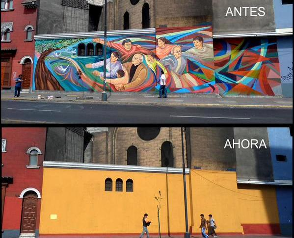Mayor removes murals from downtown Lima