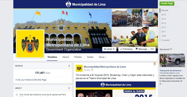 City of Lima criticized for banning users from its Facebook page