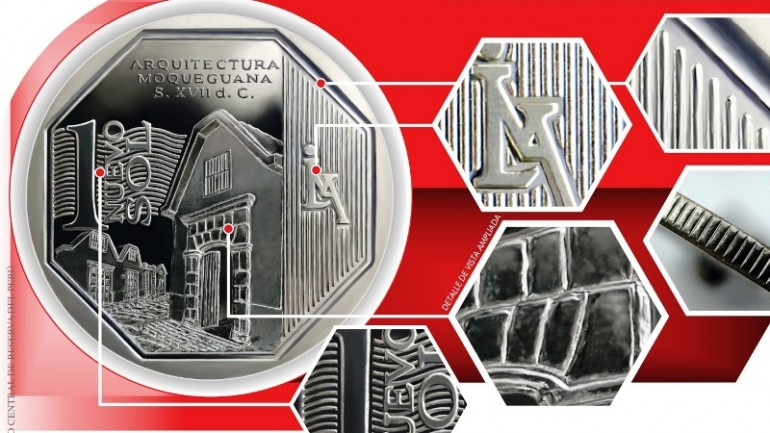 New nuevo sol coin commemorates Moquegua architecture