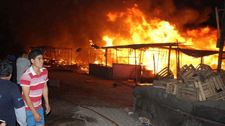 Massive fire destroys northern Peru city's largest market