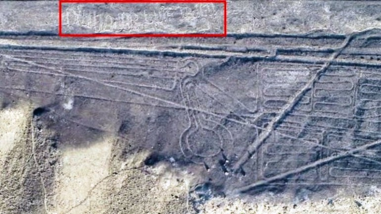 Nazca Lines geoglyph of pelican vandalized