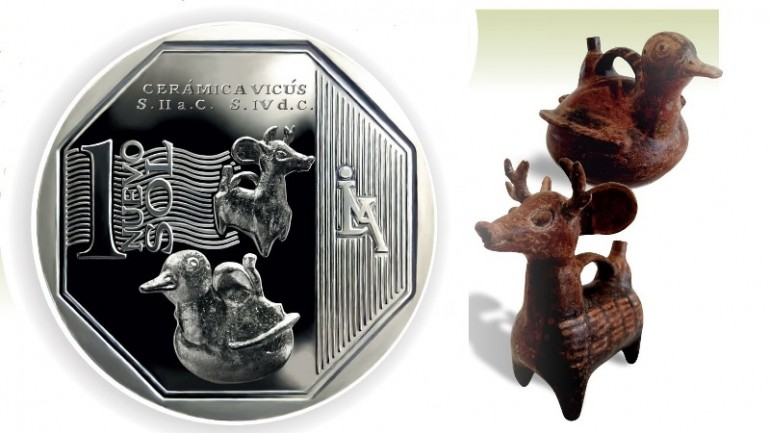 Peru collectors coin features pre-Hispanic ceramic pottery