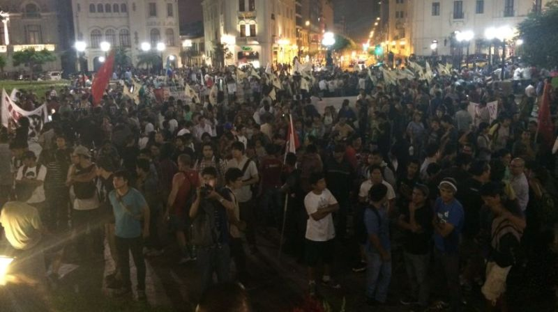 Hundreds march against Trans-Pacific Partnership in Lima