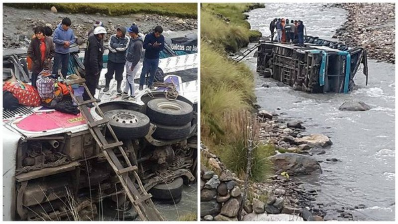 Bus falls in southern Peru river, killing 23
