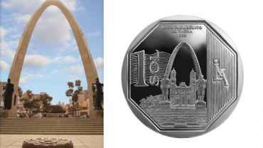 Peru collectors coin remembers War of the Pacific with Tacna arch