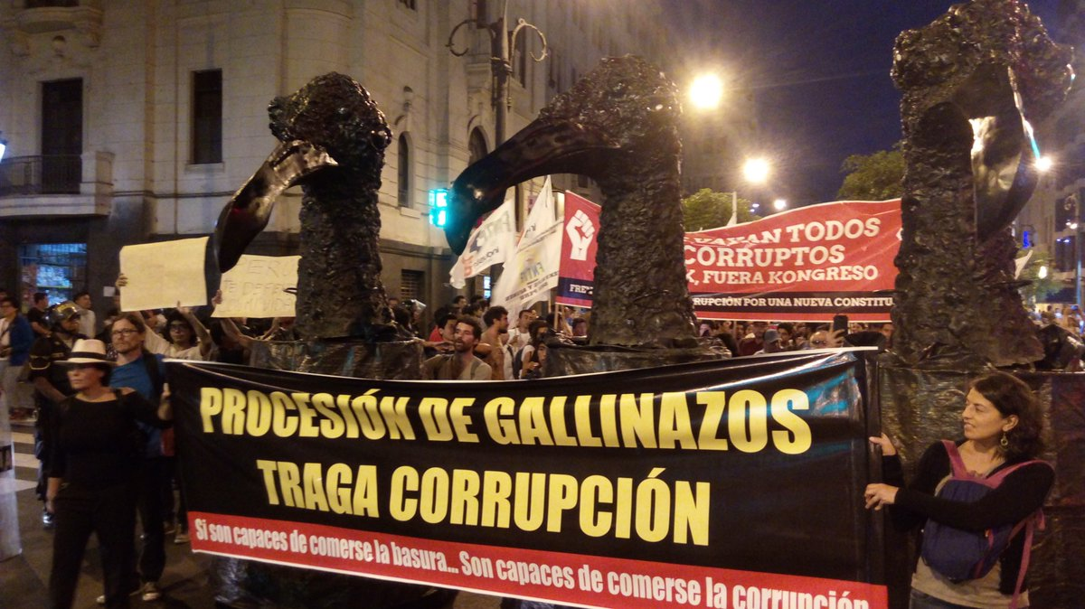 March against corruption calls for a general election before Vizcarra is sworn in