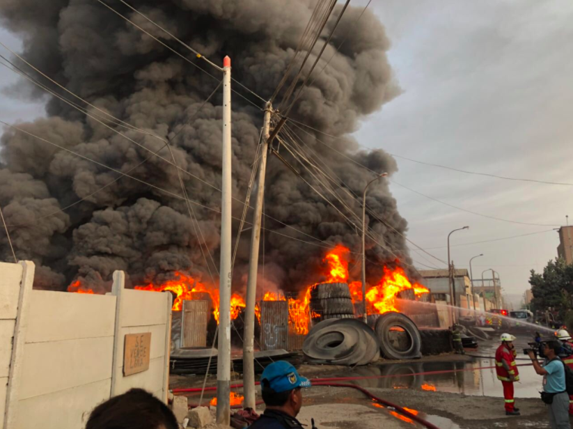 Photos: Huge tire fire in Lima takes firefighters seven hours to contain