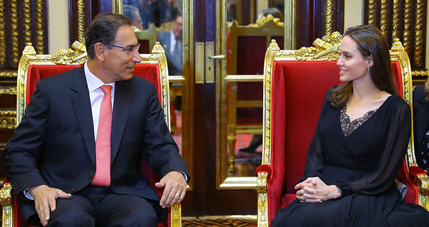 Actress Angelina Jolie meets with Peruvian President Vizcarra over refugees